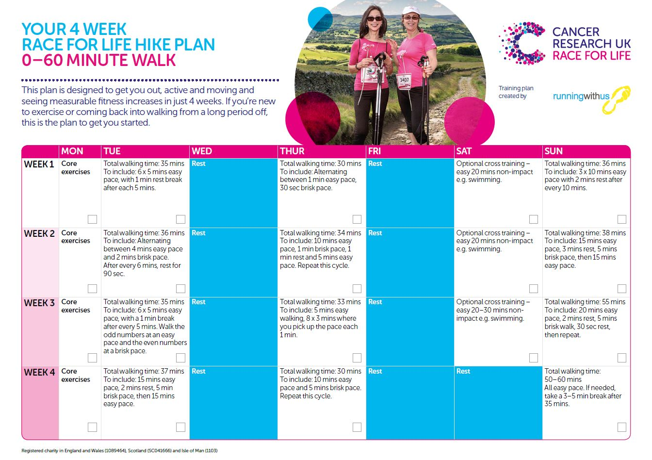 Race for Life Hike - 0-60 minute plan