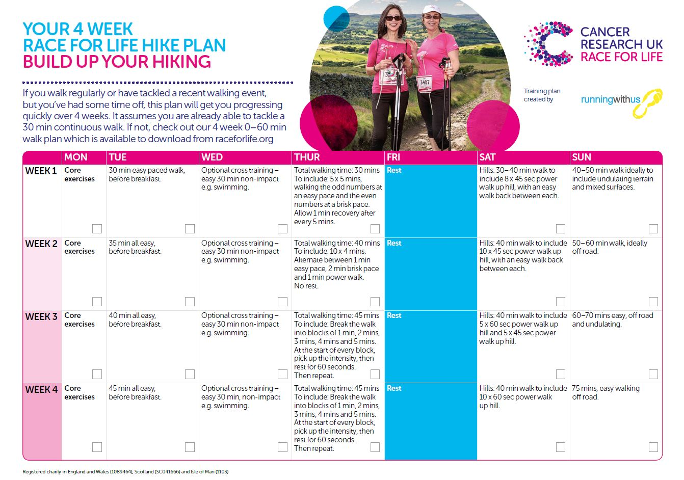 Race for Life Hike - Build up your hiking