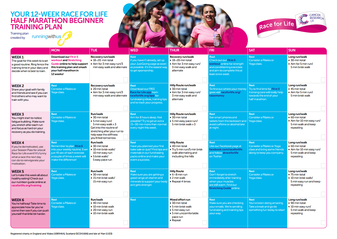 Preview of Half marathon training beginner plan PDF