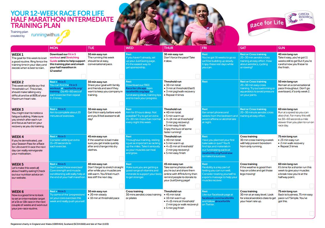 Preview of Half marathon training intermediate plan PDF