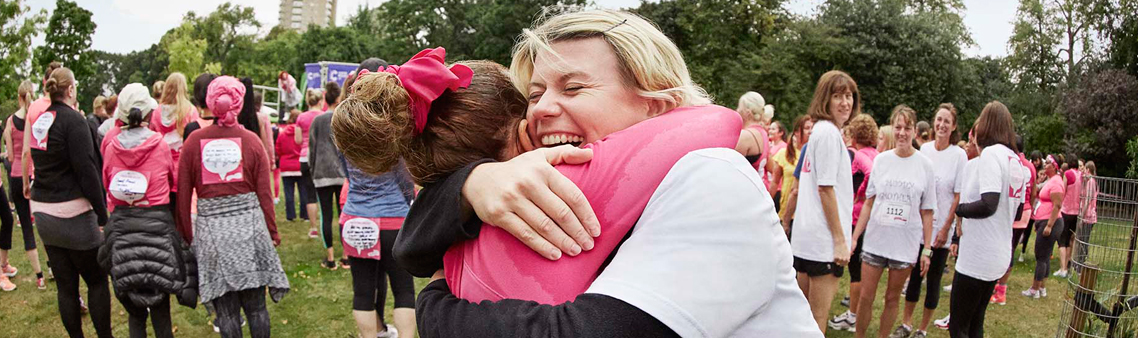 Two women hugging at Race for Life