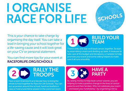 Race for Life Schools sixth form planer