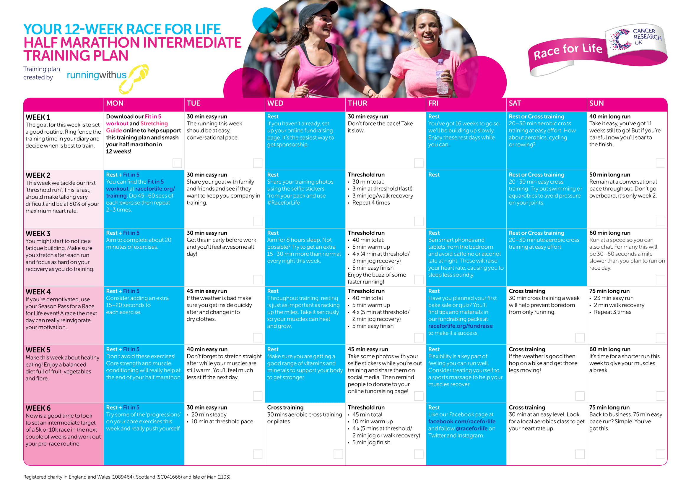 half marathon training plans | race for life | cancer research uk