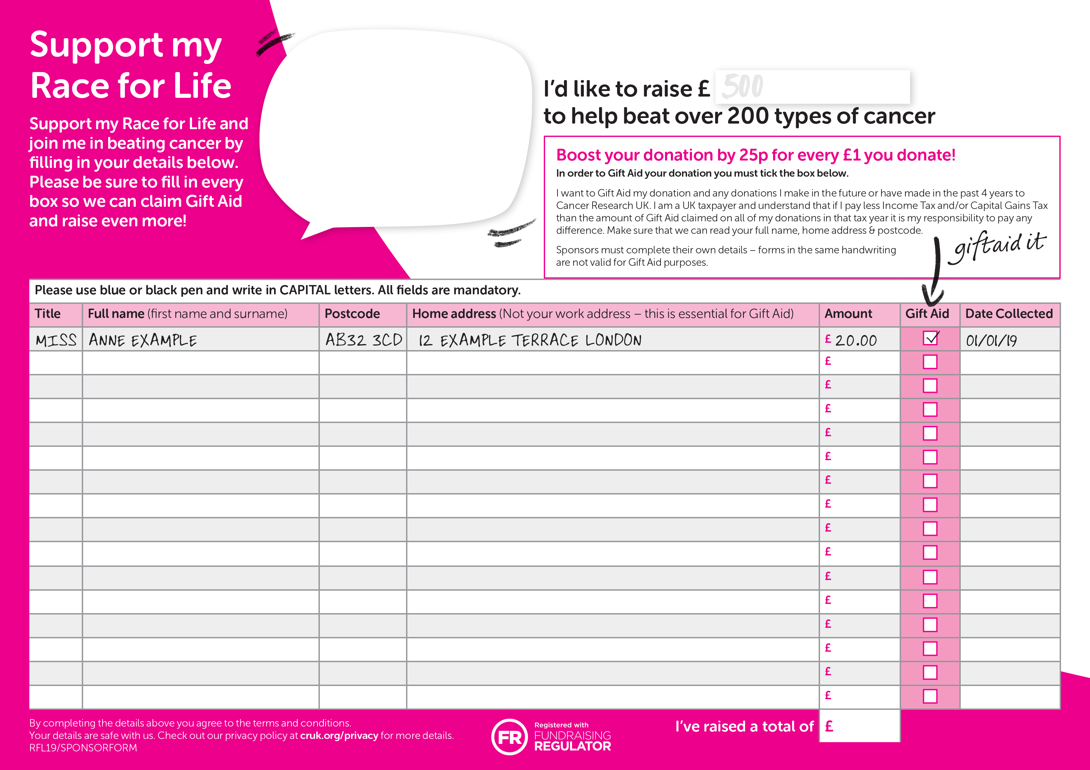 Race For Life Support Form